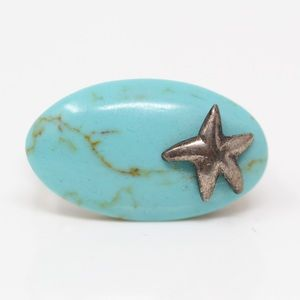 Jewelry - Sterling Silver Turquoise Oval & Starfish Ring 7.5
